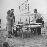 Couple Buying Seafood at Blackpool Beach