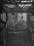 Shipbuilding  10 000 Ton Merchantman Frames on Overhead Trolley Crane Dropping Plate into Position