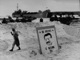 Imposing Sign Placed on Beach by Defending Troops  Copied from Article on George Orwell's 1984