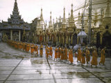 Procession of Buddhist Monks  Shwe Dagon Pagoda  Ceremonies Marking 2 500th Anniversary of Buddhism