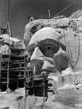 Scaffolding around Head of Abraham Lincoln  Partially Sculptured During Mt Rushmore Construction