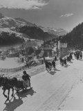 Sunday Sleigh-Rides in Snow-Covered Winter-Resort Village St Moritz