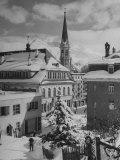 Snow-Covered Winter-Resort Village St Moritz Evangelical Church in Background
