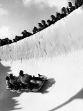 Good of Cresta Run  Bobsled Run  Coasting around Sunny Bend as People Peer from Above the Track