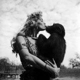 Actress Irish McCalla  Sheena Queen of the Jungle  Kissing Her Chimpanzee Co-star