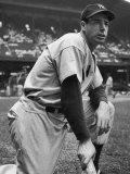 Baseball Player Joe Di Maggio Kneeling in His New York Yankee Uniform
