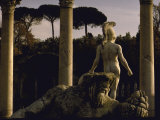 Pool Surrounded by Marble Statues and Graceful Arches in Gardens of Hadrian's Villa at Tivoli