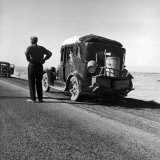 Oakie Family Stalled on Desolate Track of Highway in Desert in Southern California
