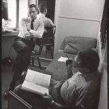"""Movie Director Vince Sherman with Actor Paul Newman Reviewing Script of """"The Young Philadelphians"""""""