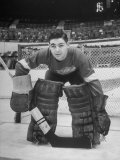 Terry Sawchuck  Star Goalie for the Detroit Red Wings  Posing in Front of Goal at Ice Arena
