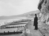 British Police Officer Standing at Foot of Dover Cliffs  Path for Proposed Dover-Calais Tunnel