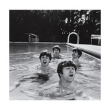 Paul McCartney, George Harrison, John Lennon and Ringo Starr Taking a Dip in a Swimming Pool Aluminium