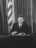 Pres John F Kennedy at White House Broadcasting Nationwide Speech on Berlin Crisis
