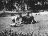 French Author  Albert Camus at His Home  Sitting in Garden with His Young Son and Daughter