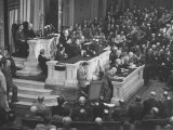 English Prime Minister Winston Churchill Adressesing the Us Congress