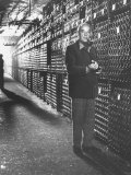 Baron Philippe De Rothschild in a Wine Cellar at Chateau Mouton Rothschild