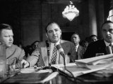 Sen Joseph R McCarthy Sitting with His Lawyer Roy M Cohn During the Army-McCarthy Hearings