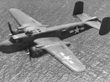 Excellent of a B-25 Mitchell Bomber in Flight