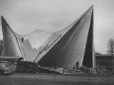 Netherlands Pavilion at Brussels Fair  Designed by Le Corbusier  Shown Being Built