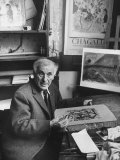 French Painter Marc Chagall Working on a Painting