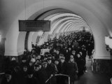 People Crowding Through Station in New Subway