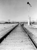 """Itinerant Men  Aka Hoboes  Waiting W their """"Bindles"""" to Illegally Hop Aboard a Freight Train"""