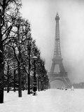 Heavy Snow Covers the Ground Near the Eiffel Tower