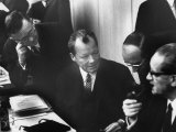 West Germany Chairman Willy Brandt  During Democratic Party Meeting Following Elections