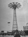 People Enjoying a Ride at Coney Island Amusement Park