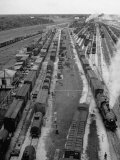 Crowded Yard Filled with Freight Cars