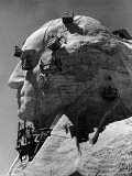 Construction of George Washington Section of Mt Rushmore Monument
