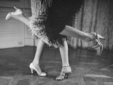 Charleston Dancers in Fringed Skirts Wearing Rhinestone-Trimmed Pumps and Strapped Sandals