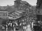 Crowds under Umbrellas on Street Outside Bombay Cotton Exchange During Monsoon Season