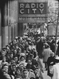 Crowds of People Waiting to See Radio City Music Hall's Easter Show