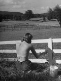 Lady Painting the Fence