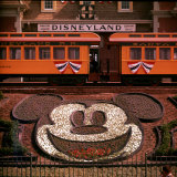 Planted Flowers Forming Design of Mickey Mouse's Face, with Disneyland Train in Background Papier Photo par Loomis Dean