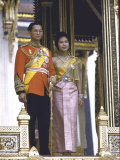 Thailand's King Bhumibol Adulyadej with Wife  Queen Sirikit at the Palace