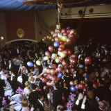 Balloons Dropping on Guests During New Year's Eve Celebration at Palace Hotel