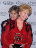 Actress Carrie Fisher Hugging Mother  Entertainer Debbi Reynolds  at American Comedy Awards