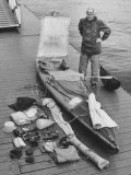 Dr Hannes Lindemann Standing Next to the Folding Boat He Crossed the Atlantic Ocean In