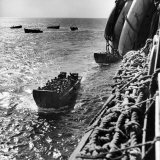 American Army Troops Coming Aboard Apa at Sea for D-Day Allied Invasion of Normandy