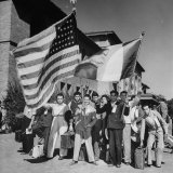 Mexican Farm Workers Waving American and Mexican Flags