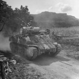 M4 Sherman Tank in Action During the Us Invasion of Saipan