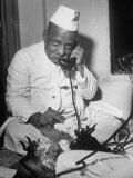 Brokers Speaking on Telephone at Bombay Stock and Cotton Exchanges