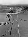Man Working on the Texas Illinois Natural Gas Company's Pipeline Suspension Bridge
