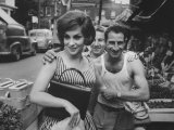 Actress Gina Lollobrigida Talking with Vegetable Vendors