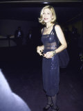 Actress Tatum O'Neal in See-Through Navy Blue Dress