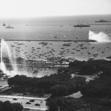 View of the Chicago Harbor  During the Arrival of Queen Elizabeth Ii and Philip