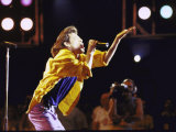 Singer Mick Jagger of the Rock Band the Rolling Stones Performing at Live Aid Concert