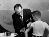 Dr Jonas Salk Inoculating a Young Boy W His New Polio Vaccine